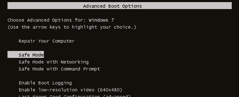 Boot Option Windows - Safe Mode Windows