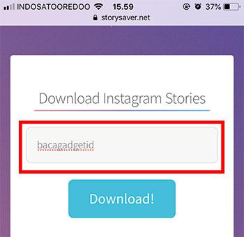 Cara Download Story Instagram (IG) Orang Lain Tanpa Aplikasi (Stories) - Cara Input Username Instagram